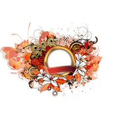 label with grunge floral vector image