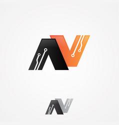 letter n circuit vector image
