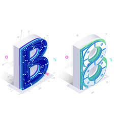 Letters b with connecting elements vector