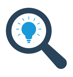 magnifying optical glass with light bulb icon vector image