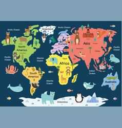 Map world with cute animals colorful vector