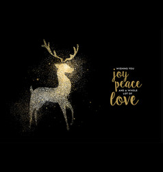 merry christmas gold glitter deer holiday card vector image