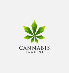Modern geometric logo hemp cannabis marijuana vector