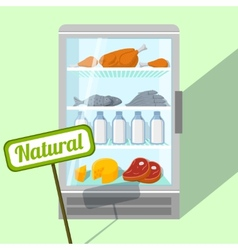 Natural foods in refrigerator vector