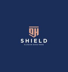 oh dh shield logo vector image