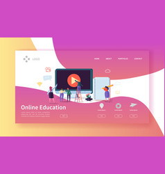 online education landing page e-learning concept vector image