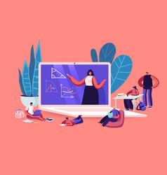 Online school education concept kids characters vector