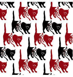 pattern with hand drawn cat with vector image