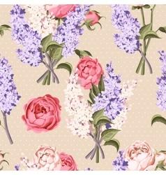 Peony and lilac seamless vector image