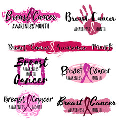 Pink ribbon stickers from brushstrokes vector