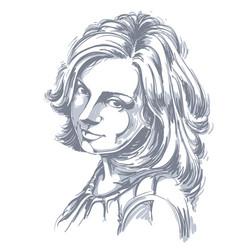 Portrait attractive woman good-looking vector
