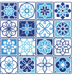 Portuguese azulejo tiles design seamless geometric vector