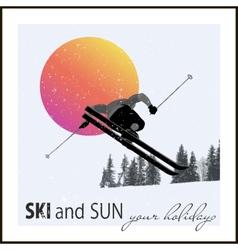 Poster skier flying against evening sun vector