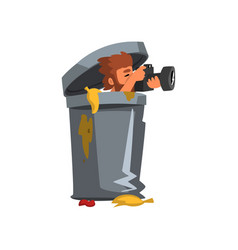 Professional male photographer paparazzi hiding in vector
