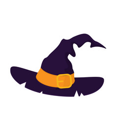 purple old witch hat isolated on white background vector image