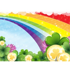 Rainbow clover and gold coins vector