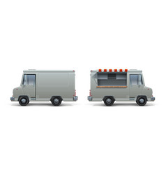 Realistic food truck ice cream pizza and street vector
