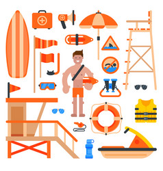 Rescuer lifesaver worker man on beach and of life vector