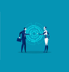 robot and human cooperation on blue background con vector image