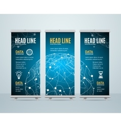 Roll up banner template cosmos science concept vector