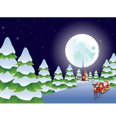 Santa riding christmas sleigh at night4 vector