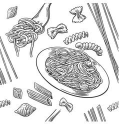 Seamless pattern set pasta farfalle conchiglie vector