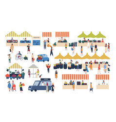 seasonal outdoor street market people walking vector image