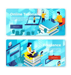set bright banner templates online learning vector image