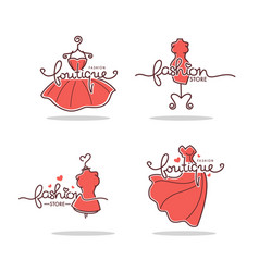 set fashion boutique and store logo label vector image