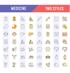 set flat line icons medicine vector image