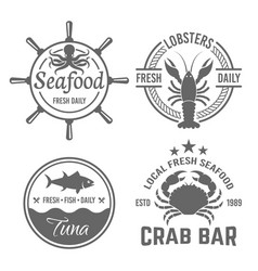 set four emblems for seafood restaurant vector image
