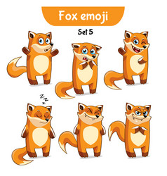 Set of cute fox characters set 5 vector