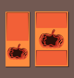 set of vertical banner with 3d festive of pumpkin vector image