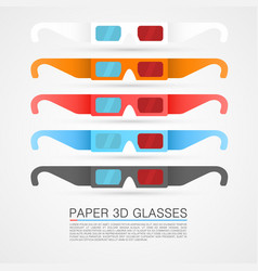Set paper 3d glasses vector