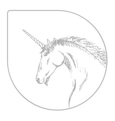 silhouette of a unicorn gray and white vector image