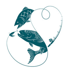 Silhouettes with fish for fishing vector