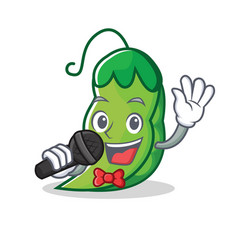 singing peas mascot cartoon style vector image