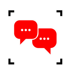 speech bubbles sign red icon inside black vector image