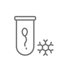 Sperm bank spermatozoon freezing line icon vector