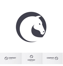 Stylized white horse head in circle for mascot vector