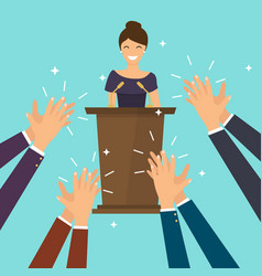 success in business woman giving a speech vector image