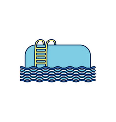 Summer pool with stairs detailed style vector