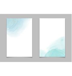 teal blue and mint colored liquid watercolor vector image