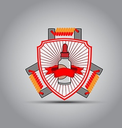 The emblem in the shape of a shield for electronic vector image