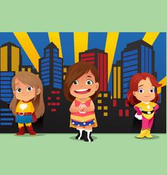 three little girls wearing superheroes vector image