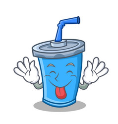 Tongue out soda drink character cartoon vector