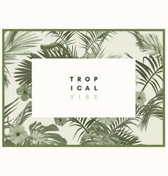 Vintage monochrome pale plive tropical design with vector
