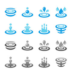 water and ripple icon set vector image