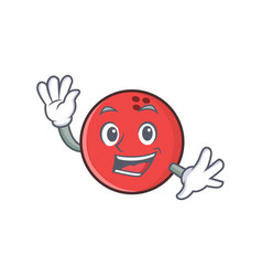 waving bowling ball character cartoon vector image