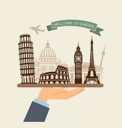 Welcome to europe attractions of europe on a tray vector